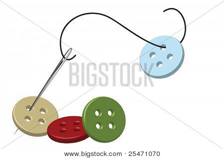 Sewing needle, thread and colorful buttons
