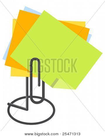 Note paper holder, vector illustration