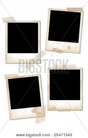 Collection of empty vintage photo frames.