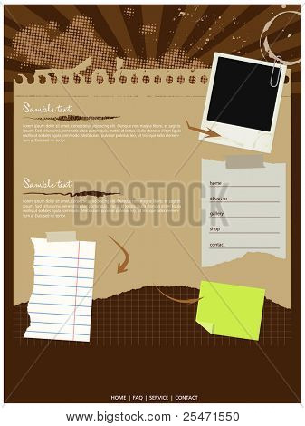 Grungy website template,vector,elements editable