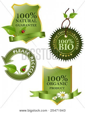 Green labels, vector illustration.