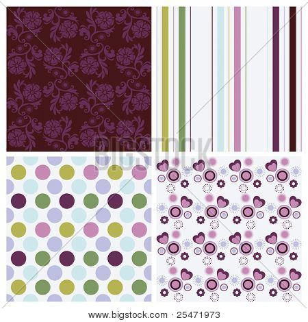 Vector set of four different seamless pattern
