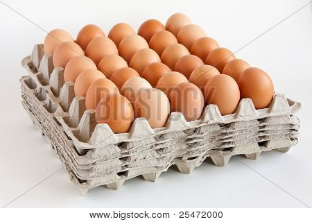 Carton of  fresh brown eggs