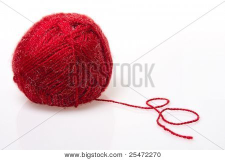 Red wool yarn, isolated