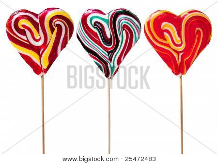 Three Heart Shaped Candy Lollipops, with clipping path
