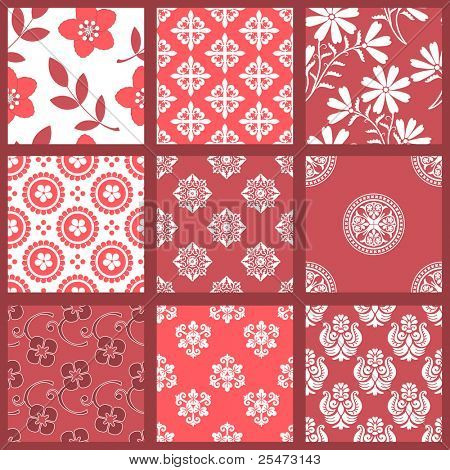 "Floral Seamless Backgrounds. All design are seamless and ""pattern swatches"" included in file, for your convenient use."