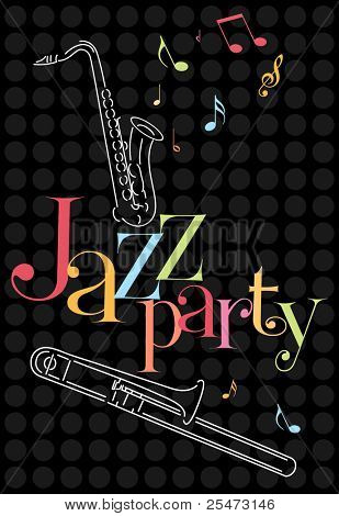 Musical jazz background with saxophone and trombone