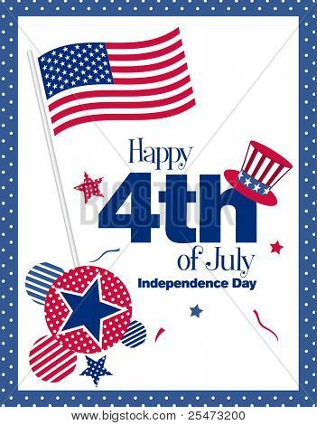 Happy 4th July greeting card, illustration