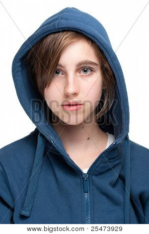 Teenage girl in hood, portrait.