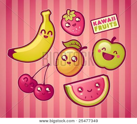 Kawaii smiling fruits
