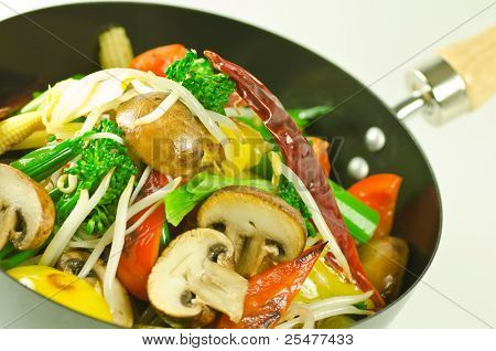 colorful mushroom and vegetable stir fry
