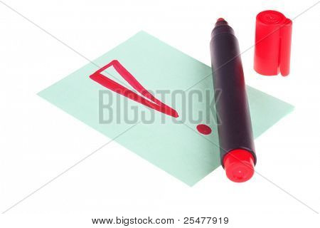 A drawn exclamation sign with red marker on isolated white
