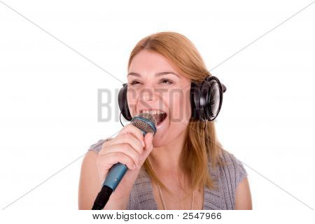 Beautiful Young Woman Enjoy In Music