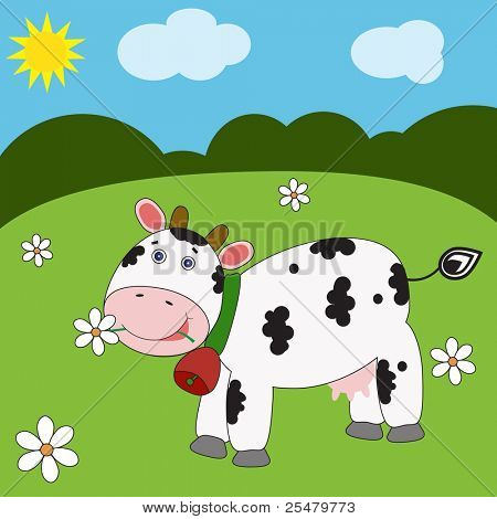Landscape with funny cow. Vector eps10 illustration