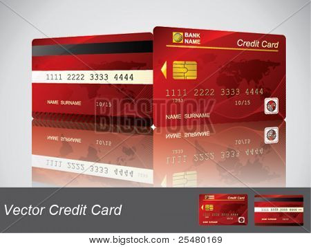 Vector Red Credit Card, front and back view