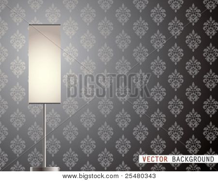 Vector Illustration of Lamp in front of Wallpaper.