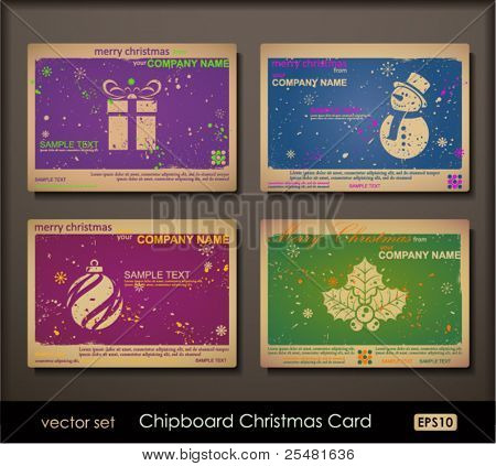 Colorful collection of chipboard Christmas cards. Two colors cards for printing  the old fashioned way, but trendy. Print on blank chipboard textured paper. Size A6 (105×148 mm / 4.1×5.8 in).