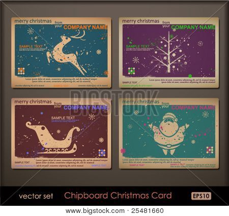 Vintage collection of chipboard Christmas cards. Two colors cards for printing the old fashioned way, but trendy. Print on blank chipboard textured paper. Size A6 (105Ã?148 mm / 4.1Ã?5.8 in).