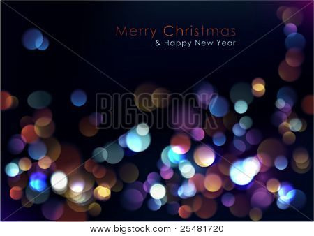 Christmas blurred lights background. Vector Illustration.