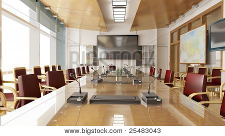 Office interior with red chairs