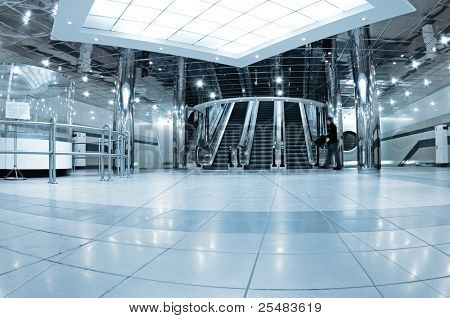 Hall with escalators