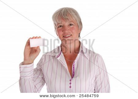 Senior Business Woman Holding Business Card