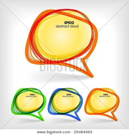 Collection of color abstract talking bubbles