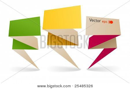 bilaterial colorful polygonal origami banners. Place your text here