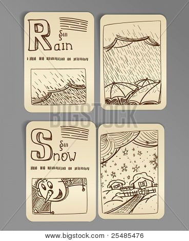 Weather icons. vintage book style, set 2