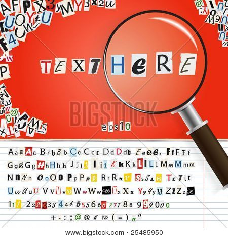 Searching magnifier with set of vector letters from newspaper and magazines on red