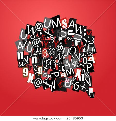 Talk bubble of letters from newspaper and magazines on red