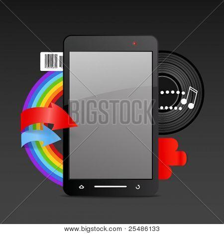 Modern gadget on expressive background