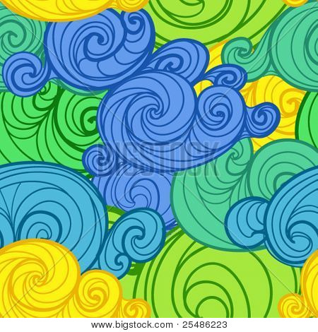 Colorful seamless background of curled abstract clouds. Green, yellow, blue