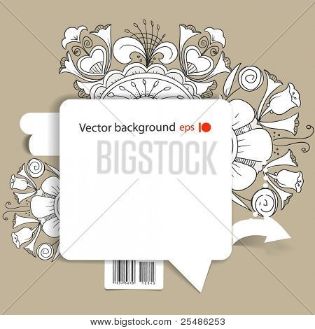 Abstract background of blank white speech cloud on the wall and white floral ornaments