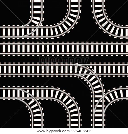 Seamless background of railway tracks on black