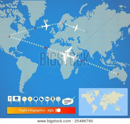 Flight infographics. Civil airplanes trajectories on world map. And signs set