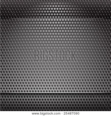 Metal grill net background with blue backlight