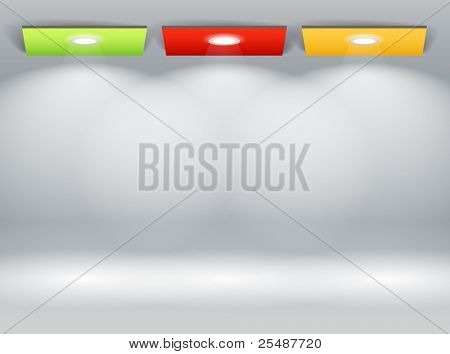 Illuminated wall of colorful panels