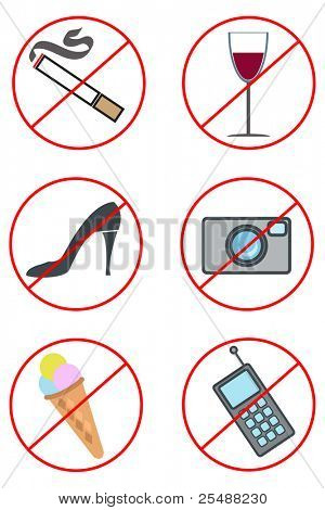 Collection of prohibiting signs. Vector illustration