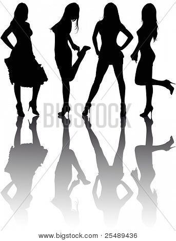 Silhouettes of four beautiful girls. Vector illustration