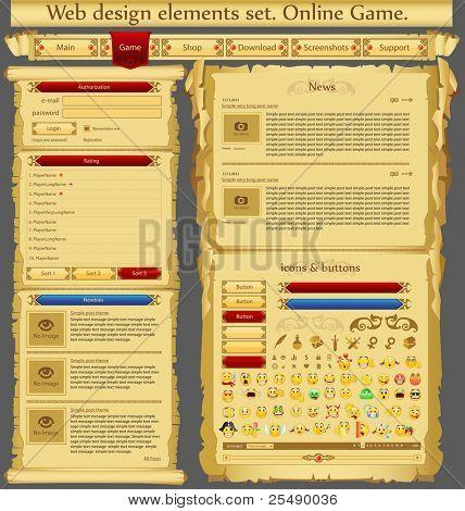 Web design elements set. Game. Vector