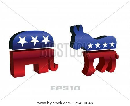 Republican and Democrat Symbols