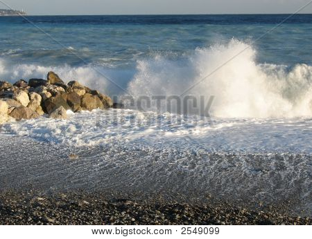 Wave Crashes In Nice, France
