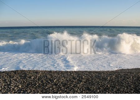 Big White Wave In Nice, France