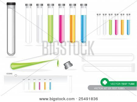 Vector Set Of Test Tubes