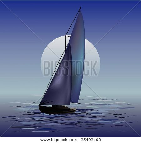 Sailing boat in moonrise