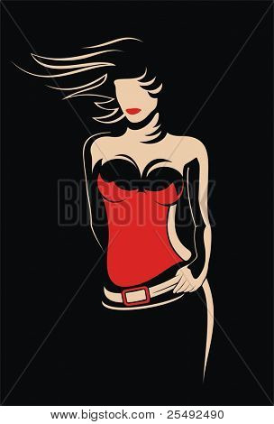 Woman silhouette in red top