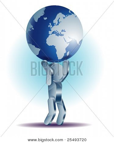 Vector business concept.Iron man holding globe
