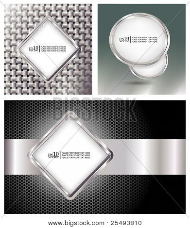 Vector glossy metallic style banners, template