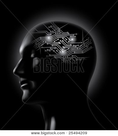 Vector brainstorm- circuit board brain concept